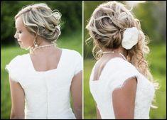 Brautfrisuren seitlich gesteckt -locken-halboffen-blume | Frisuren ...