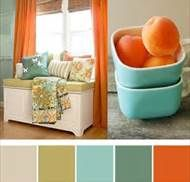 According to the color wheel opposite teals and turquoise are oranges and peach