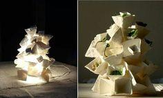 Paper light, Green interior design, handmade lamp, papier mache,by Eco Wedding Design Roma Green Design paper flowers