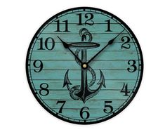 Anchor Wall Clock - Nautical, Coastal or Beach House Wall Decor Unique Wall Clocks, Unique Wall Decor, How To Make Wall Clock, Metal Clock, Beach Cottage Decor, Blue Wood, House Wall, Wood Patterns, Anchor