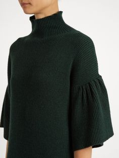 Ryan Roche High-neck ribbed-knit cashmere dress