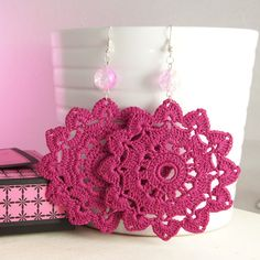 Magenta Crochet Earrings. €12,00, via Etsy.