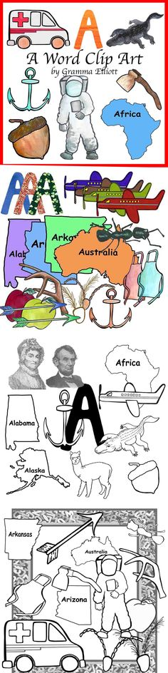 """This A Word Clip Art Package includes my original hand colored clip art of:  Each of these 72 .PNG format Clips is 300 Dpi, about 3""""x3"""", resizable, color and black line:  The Letter A Abigail Adams Abraham Lincoln Acorn Africa Airplane Alabama Alaska Alligator Alpaca Alphabet Noodle Frame Ambulance Anchor Ant Antennas Apple Apron Arizona Arkansas Arrow Astronaut Australia Axe"""