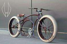white tires on brown custom cruiser. Sweet handlebars. -MillersChopShop