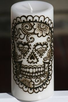 Henna Sugar Skull Pillar Candle, White, Day of the Dead, Dia de los Muertos