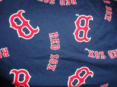 Red Sox cotton fabric dark blue background material scrap 3 pieces