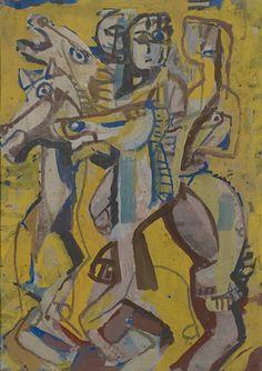 """Ian Fairweather (Scottish, 1881-1974) - """"Merry-go-round"""", 1956 - Gouache"""