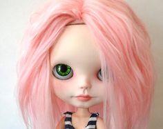 Hermosa rosa Alpaca Reroot cuero cabelludo para Blythe / / OOAK / / Custom Blythe muñeca Reroot