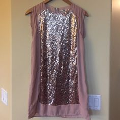 Beautiful sequence shift dress This has been worn two times! It is in excellent condition! It is a blush/tan color with a sequence front. Beautiful!!!! Ya Los Angeles Dresses Mini