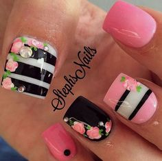 Best nail designs and tutorials for pretty, fashion nails. Pretty Nail Designs, Nail Art Designs, Nails Design, Get Nails, Hair And Nails, Instagram Nails, Nail Swag, Nagel Gel, Fabulous Nails