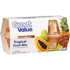 ... tropical cups fruit mix 4 oz 4 count great value tropical fruit cups