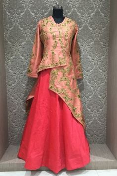 Fascinating crimson red and peach in readymade designer partywear indowestern suit