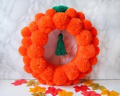 Halloween Pumpkin Holiday Orange Pom Pom Wreath - Real Time - Diet, Exercise, Fitness, Finance You for Healthy articles ideas Colorful Christmas Tree, Green Christmas, Halloween Ornaments, Halloween Pumpkins, Pumpkin Ornament, Indoor Wreath, Pom Pom Wreath, New Home Gifts, Holiday Wreaths
