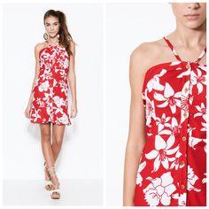 Vestido com estampa floral vermelho e branco Oh, Boy