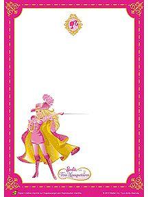 A imprimer, papier à lettre Barbie dans une tenue sexy avec son épée
