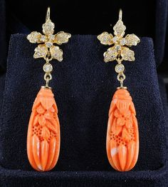 Fabulous carved coral and diamond vintage unique by hawkantiques, £1450.00