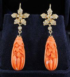 Fabulous carved coral and diamond vintage unique c. 1970s. by hawkantiques