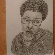 """Reflection  www.neuxro.wordpress.com  #instaart #pencil #drawing #selfportrait #art #sketchbook #illustration #youngblackartists #blackart"""