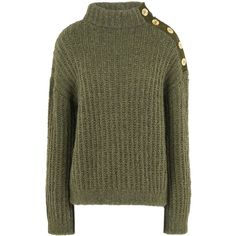 Boutique Moschino Long Sleeve Jumper ($435) ❤ liked on Polyvore featuring tops, sweaters, military green, green sweater, green turtleneck sweater, long sleeve sweater, lightweight sweaters and long sleeve tops