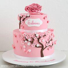Large Pink Sugar Rose & Cherry Blossoms Cake
