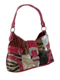Animal Print Patchwork Hobo Bag with Rhinestone Buckle (Pink)