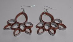 Silver and Copper handmade paper earrings WearablePaperArt #Handmade