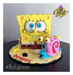 Sponge Bob Cupcakes, Sponge Bob Cake, Nightmare Before Christmas Cake, 25th Birthday Cakes, Spongebob Birthday Party, Movie Cakes, Best Cake Ever, Sculpted Cakes, Crazy Cakes