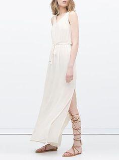 9248c676f08631 Women s White Maxi Dress - Long Sash   Widely Slit Side