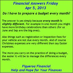 Financial Answers Friday (Apr 5, 2013) on the topic of the need for a monthly budget.