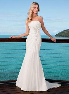 c338f4d5874a6 A-ligne sans bretelles robe de mariage en mousseline de soie - Robes de  Mariage