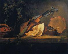Musical Instruments and Basket of Fruit - Jean Baptiste Simeon Chardin