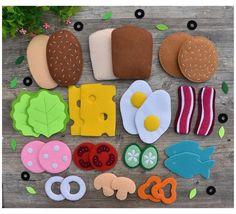 Felt Crafts Diy, Felt Diy, Diy For Kids, Crafts For Kids, Felt Food Patterns, Felt Patterns Free, Felt Play Food, Kids Play Food, Play Food Set