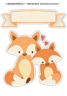 Topo de Bolo Raposinha 1 Printable Stickers, Cute Stickers, Planner Stickers, Paper Toys, Paper Crafts, Fox Art, Party In A Box, Woodland Party, Button Crafts
