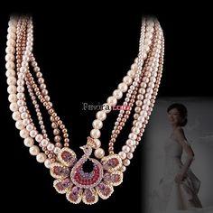 2012 Fashion Purple Rhinestone Crystal Pearl Peacock Necklace