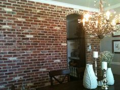 Using brick veneers for an exposed brick wall look.. ill have to remember this