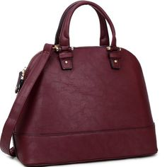 Dasein Zip Around Structured Domed Satchel Handbag Purse, Tablet, iPad Bag (Classic Style, Wine - 8813N)