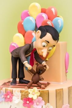 Tutorials by Crazy Sweets Mr Bean Fondant Figure Mr Bean Cake, Bean Cakes, Mr. Bean, Mr Bean Birthday, Boy Birthday, Biscuit, Fondant Figures, First Birthday Cakes, Cakes For Boys