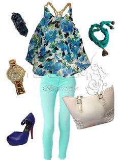 Blusa estampado flores azul. Skinny menta y accesorios. En Ciccio Boutique