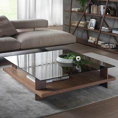 Pacini e Cappellini Corallo Coffee Table - Square - NK - Bronze Glass Top