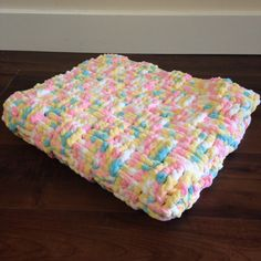 Basketweave Crochet Baby Blanket, Blue Pink Yellow and White Basket Weave