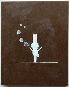 Usachan believes that the simplest things in life should bring the greatest joy...oooooh! Bubbles! Gouache on board.  © 2013 Tamara David