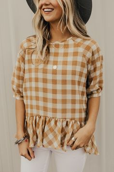 Plaid Spring Peplum Top | ROOLEE