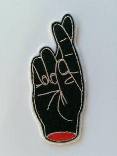 Fingers Crossed Hand Embroidered Wool Felt Patch by eradura