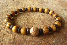 Mens Jasper Gemstone Coconut & Wooden Beaded by cainersbliss