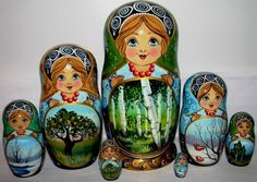 Gorgeous Nesting Doll Stacking Dolls 7 Russian Traditional Seasons