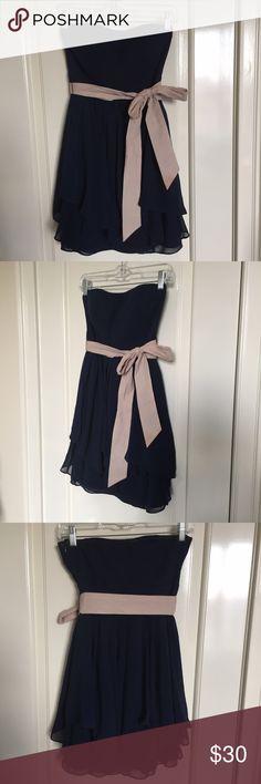Navy ModCloth Strapless Dress Sweetheart neckline, chiffon layers ModCloth Dresses Strapless