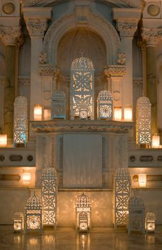 Moroccan style white lanterns for a ceremony