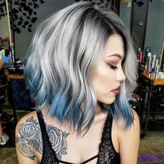 Blonde And Blue Hair, Grey Hair With Blue, Short Hair With Color, Grey Ombre Hair Short, Icy Blue Hair, Pastel Blue Hair, Grey Blonde, Blonde Wig, Blonde Ombre