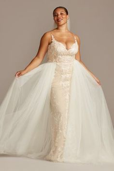 New Elegant Long Fitted Lace Plus Size Wedding Dress with Tulle Overskirt Style Plus Wedding Dresses, Davids Bridal Dresses, Bridal Gowns, Wedding Gowns, Wedding Suits, Wedding Attire, Davids Bridal Plus Size, Plus Size Wedding, Form Fitting Wedding Dress