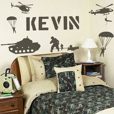 For Allen's side of their bedroom?Personalized Name and Military Army Soldiers by SunshineGraphix, $16.99